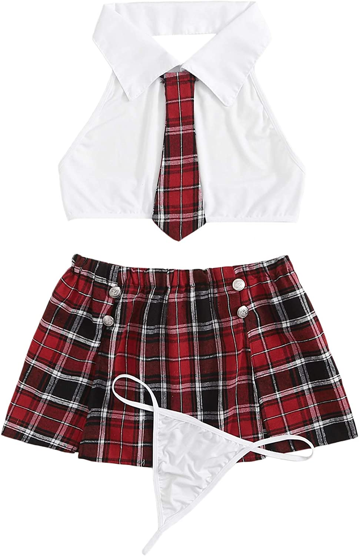 DIDK Women's 3Pcs Cute Adult Uniform Schoolgirl Costume Lingerie Set with Thong: Clothing