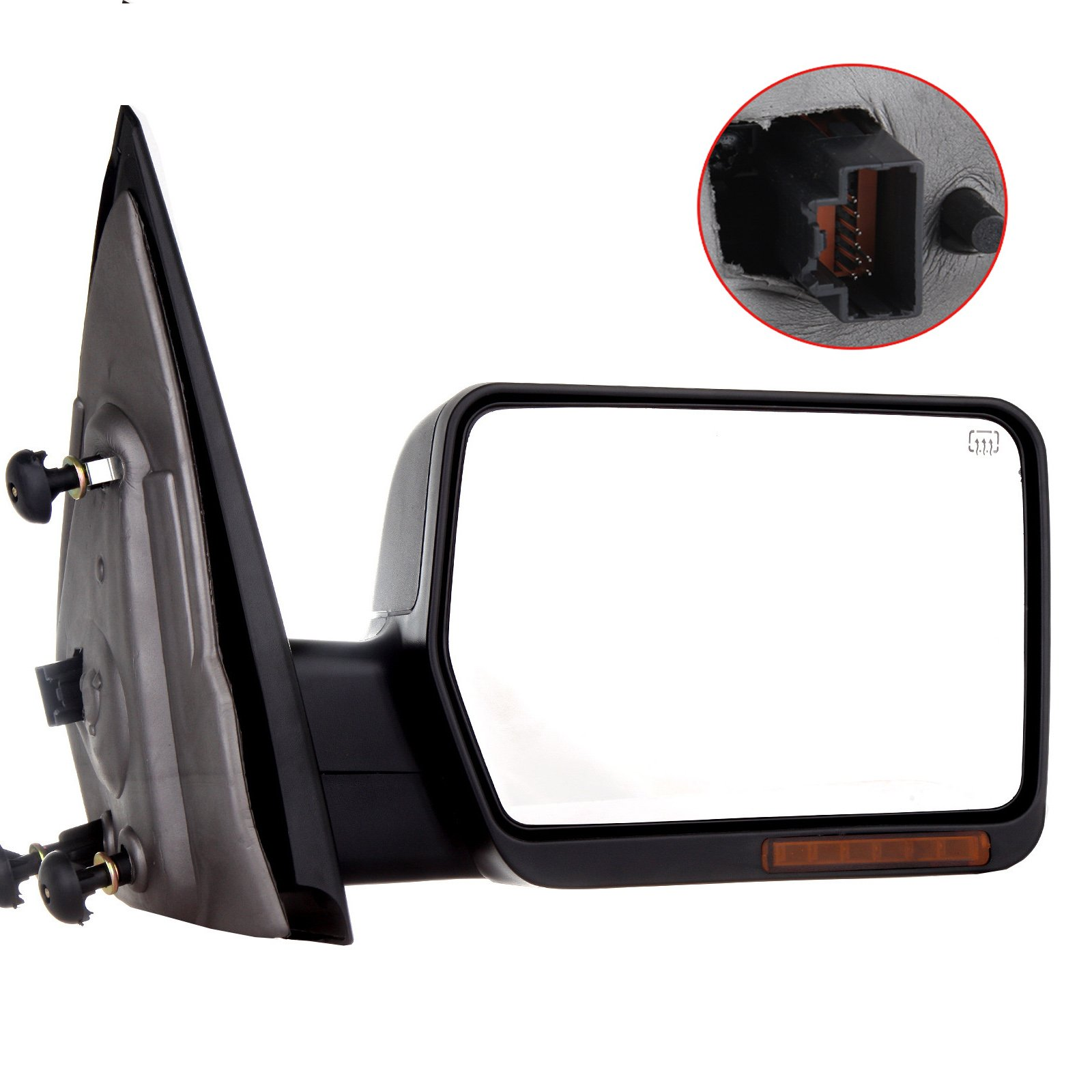 Towing Mirror For 2004-06 Ford F-150 Rear View Mirror Automotive Exterior Mirrors with Power Heated Front LED Signals (Passenger Side)