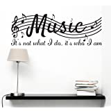 "Dnven (Black 28""w X 10""h) Music It's Not What I Do It's Who I Am Music Clef Home Vinyl Wall Decals Quotes Sayings Words Arts Decors Lettering Vinyl Wall Stickers"