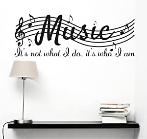"Cocobee It's Not What I Do It's Who I Am Music Home Vinyl Wall Decals Quotes Sayings Words Arts Decors Lettering Vinyl Wall Stickers, 38"" w X 15"" h, Black"