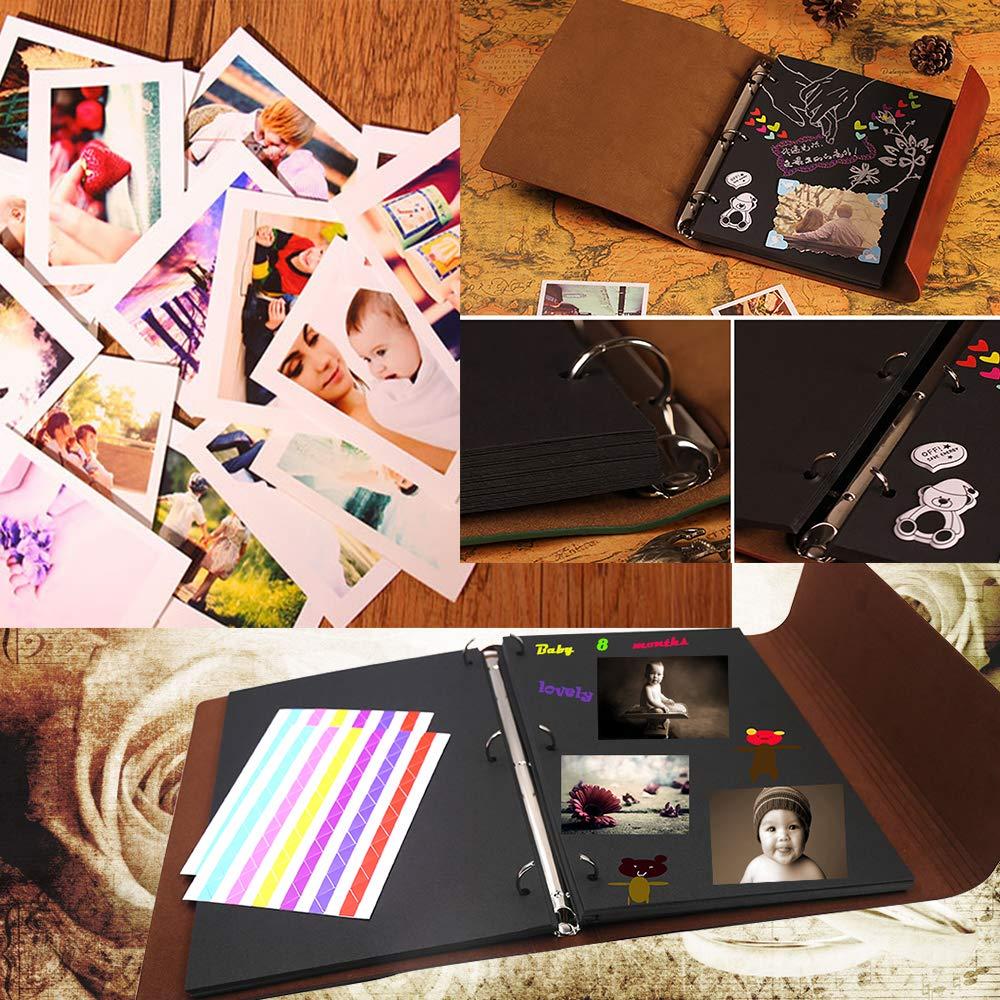 Album per Foto Vintage Scrapbook Pagine Nere Portafoto per Fotografie Ricordi Regali Natale San Valentino Idee Regalo di Anniversario Compleanno de Voyage Parents Ragazzo Verde L