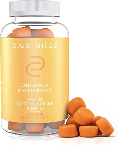 Plus Vitae Turmeric Gummies with Immunity Boost- Organic Curcumin Ginger Gummies – Potent Antioxidant Properties – Vegan, Non-GMO, Anti-Inflammatory Gummy Supplement for Joint Support – 60 Count