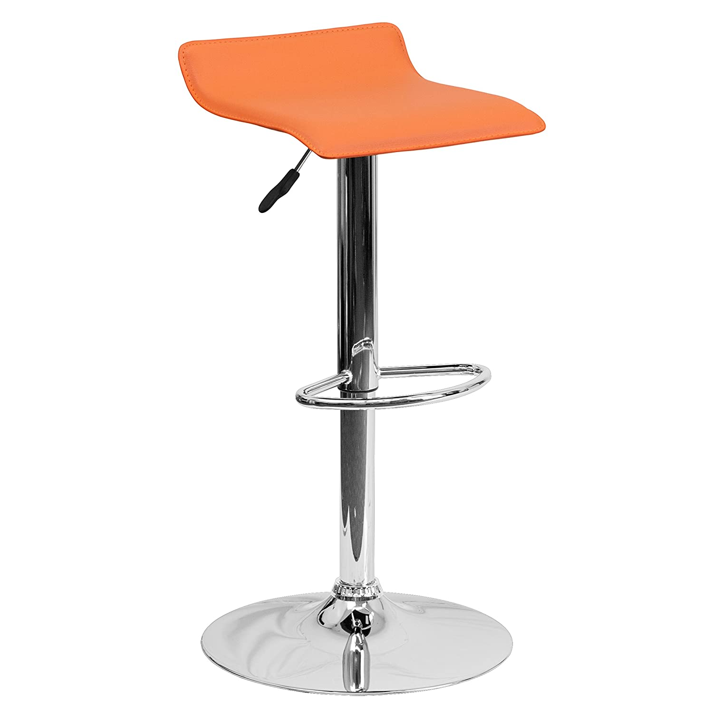 Amazon.com: Flash Furniture Contemporary Orange Vinyl Adjustable Height  Barstool With Chrome Base: Kitchen U0026 Dining