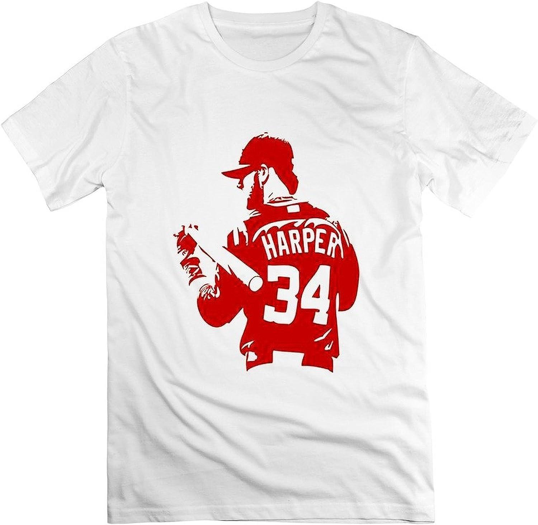 wtfcute Hombres Bryce Harper número 34 100% algodón Cuello en V Camiseta: Amazon.es: Ropa y accesorios