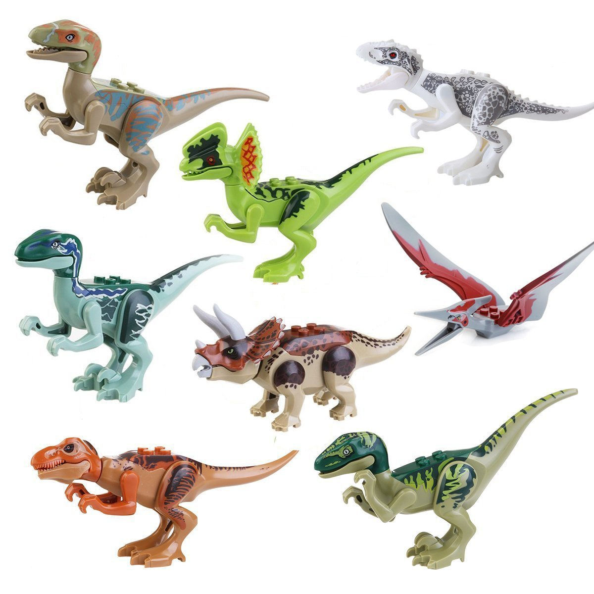 8x Dinosaurs World Brick Blocks: Rex T-Rex Pteranodon Raptor CJ451 by Magic show MS