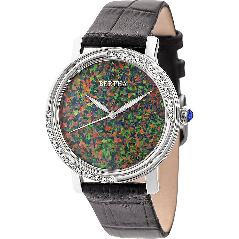Bertha Courtneyオパールダイヤルleather-band腕時計 – ブラック B077S378KC
