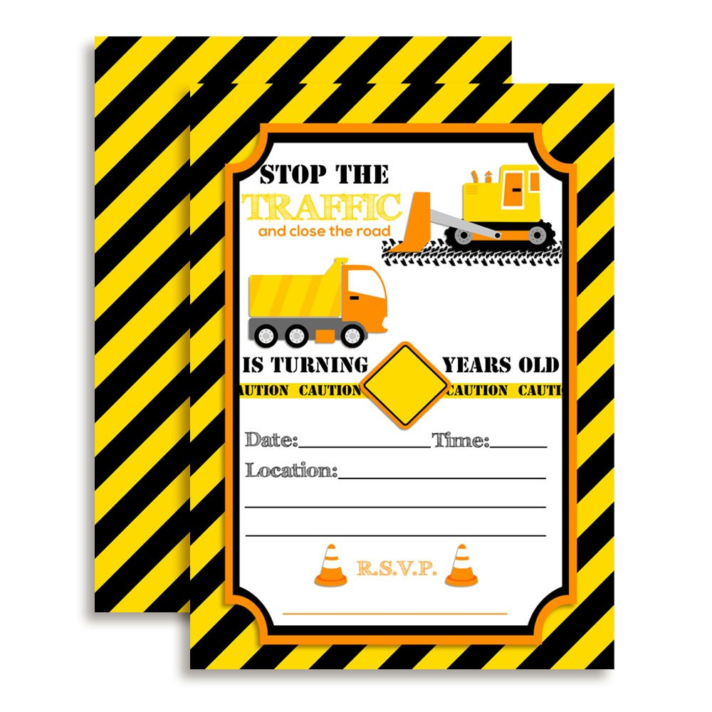 Amanda Creation Construction, Digger, Dump Truck Birthday Party Fill in Invitations set of 10 with envelopes by Amanda Creation