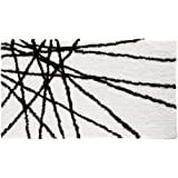 InterDesign Microfiber Abstract Bathroom Shower Accent Rug, 34 x 21, Black/White