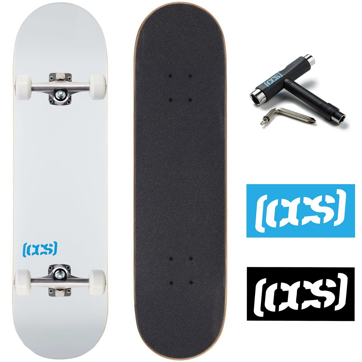 CCS Logo and Natural Wood Skateboard Completes - Fully Assembled (White, 8.0)