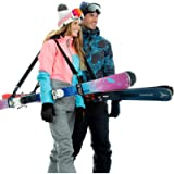 Volk Ski Strap and Pole Carrier 2 Pack - Skiing Accessory for Easy Transportation of Your Ski Gear - Feel Comfortable…