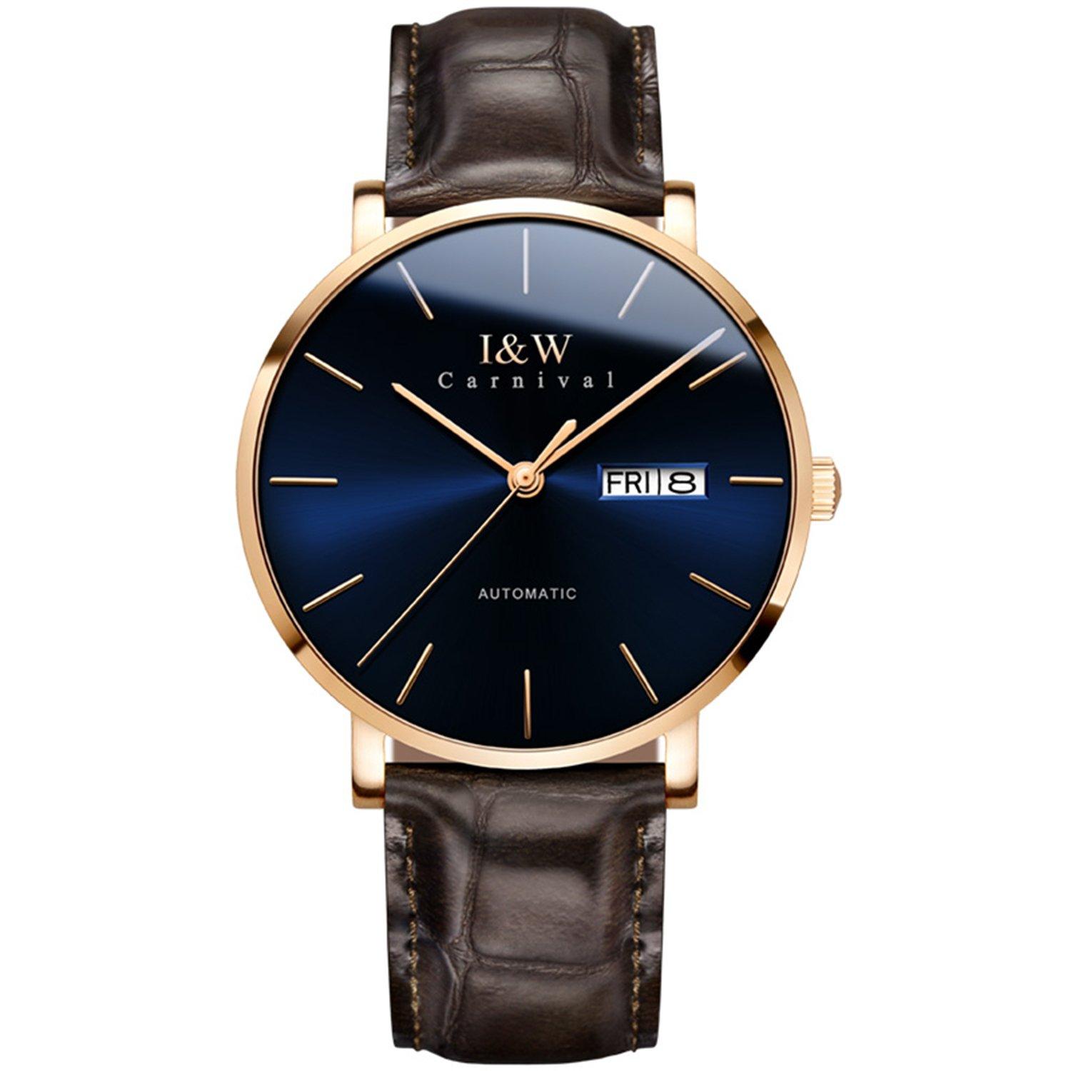 Men 's Luxury WatchミニマリストUltra Thin Swiss Automatic Movementサファイアクリスタルアナログカーフスキンストラップ ブルー B07CY9T1LR ブルー ブルー