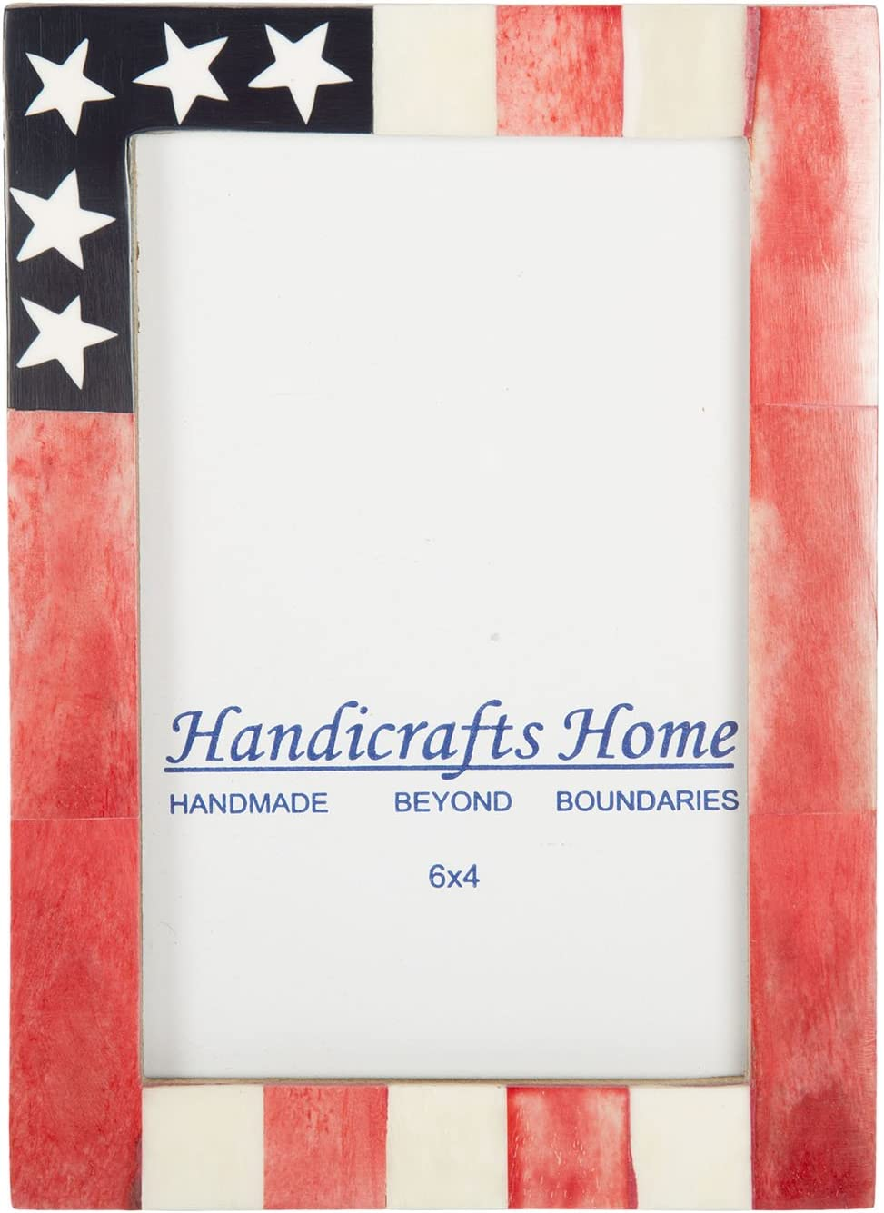 USA American Flag Picture Photo Frame Souvenirs Handmade Naturals Bone Frames for Photo Size 4X6 Inches