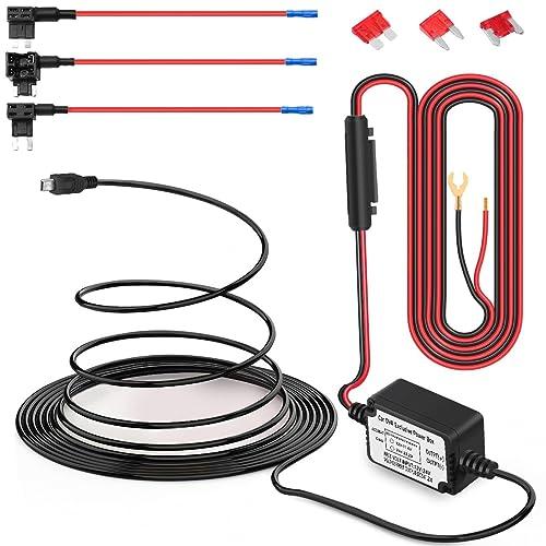 Dash Cam Hardwire Kit Mini USB Hard Wire Car Charger Cable Kit 12V-24V to 5V for Dash Cameras GPS (Mini USB and Fuse Kit)