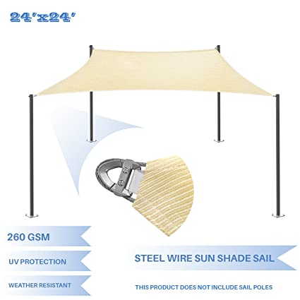 Amazon Com E K Sunrise Reinforcement Large Sun Shade Sail 24 X 24