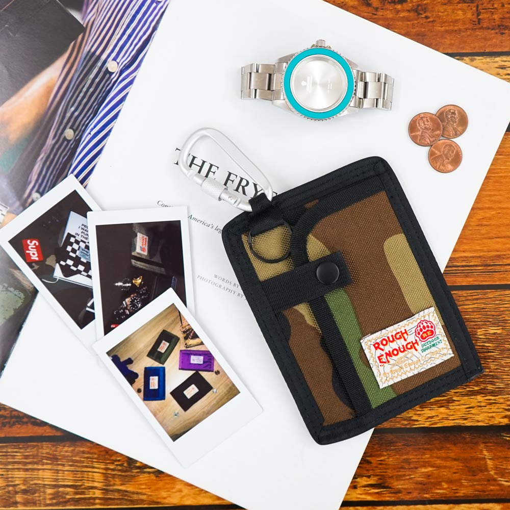 Portachiavi in stile casual carte di credito Black con 2 tasche con cerniera di sicurezza in cui riporre monete Rough Enough