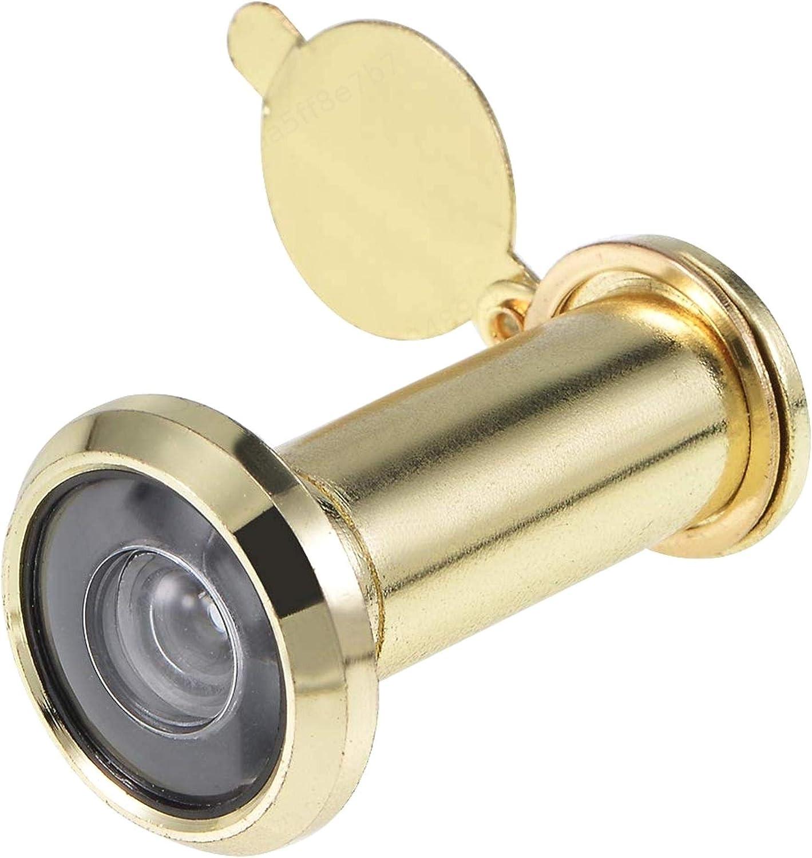 AlonGB - Mirilla para puerta (latón macizo, 35 - 55 mm, ángulo de visión de 200º), color cromado brillante, dorado, pack de 1