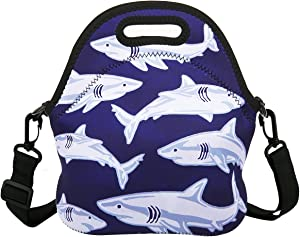 Violet Mist Insulated Neoprene Lunch Bag Tote with Detachable Adjustable ShoulderThermal Waterproof Cartoon Large Capacity Outdoor Picnic Lunch Box for Kids Teens Adults (Shark 4)