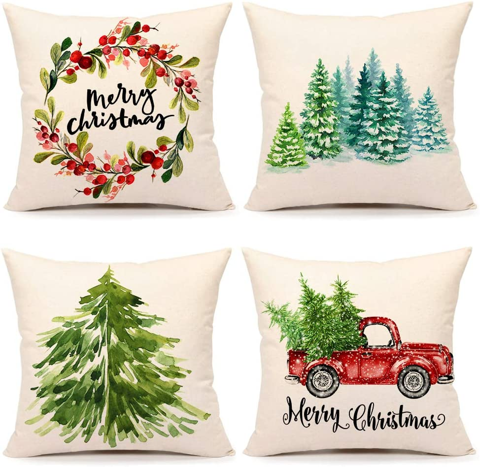 4TH Emotion Christmas Pillow Covers 20x20 Set of 4 Farmhouse Christmas Decor Xmas Rustic Decorations for Home Winter Holiday Truck Tree Throw Pillows Cushion Case for Sofa Couch Cotton Linen S202