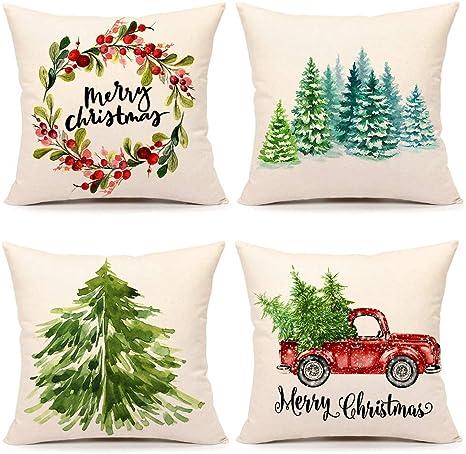 "Home Decor Christmas Xmas Polyester Throw Pillow Case Cover Cushion 18/"" Square"