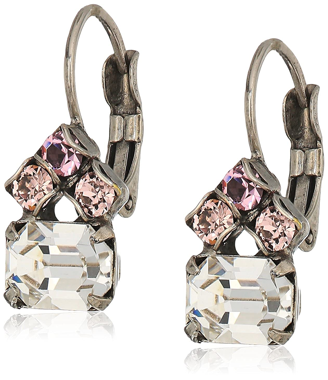 Amazon.com: Sorrelli Crystal Rose Petite Round and Octagon Crystal Drop  Earrings: Jewelry