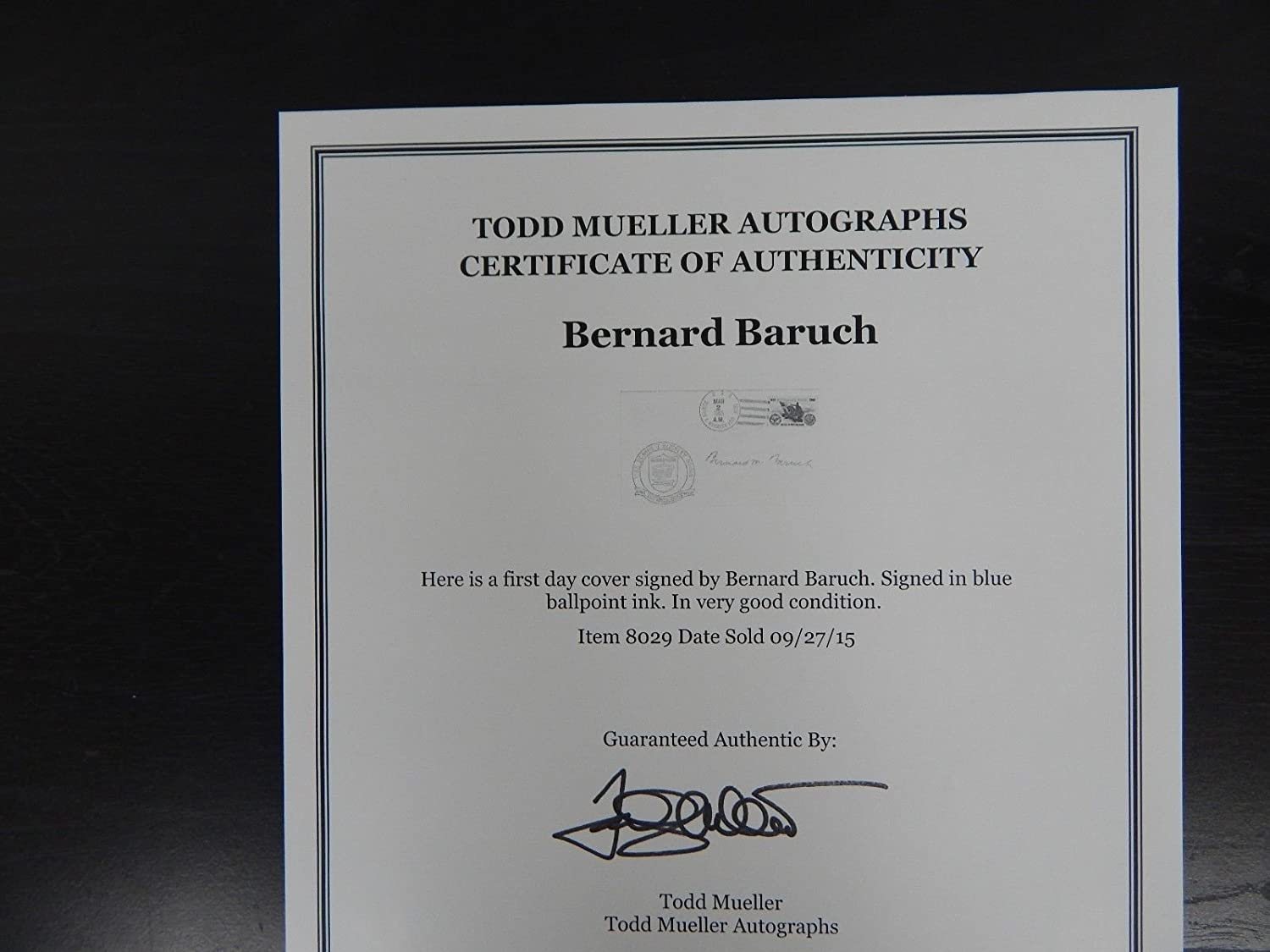 Rooseveltwilson Economic Advisor Bernard Baruch Signed Fdc Todd