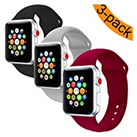 For Apple Watch Bands, Youther Soft Silicone Strap Replacement Wristbands for Apple Watch Sport Series 3 Series 2 Series 1 Black 42mm 38mm M/L S/M