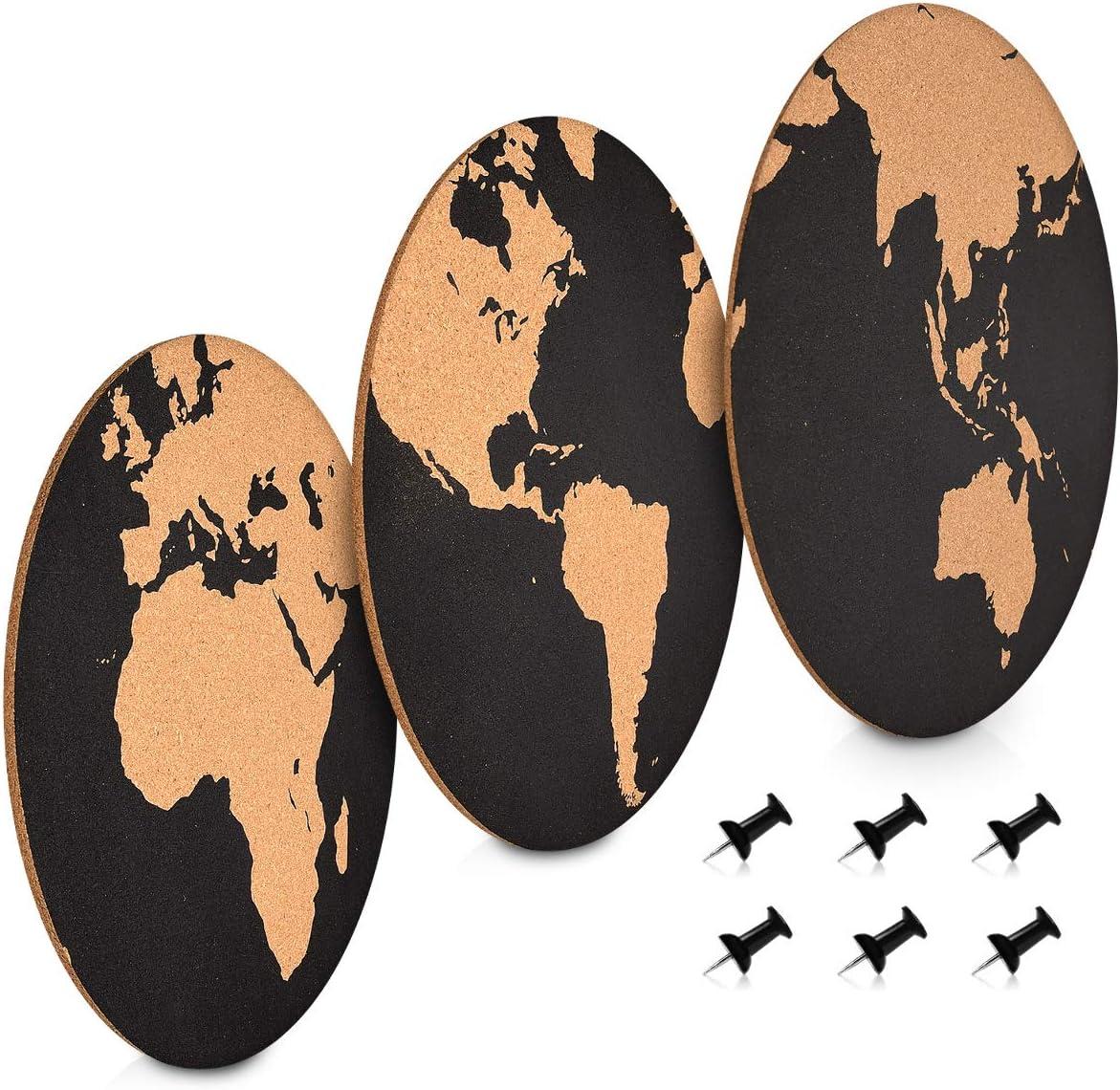 3x Pizarra mapamundi de corcho Con chinchetas Navaris Set de tableros de corcho Pizarras redondas con diversos dise/ños de mapas del mundo