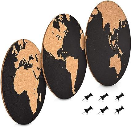 Navaris Set de tableros de corcho - Pizarras redondas con diversos diseños de mapas del mundo - 3x Pizarra mapamundi de corcho - Con chinchetas: Amazon.es: Oficina y papelería