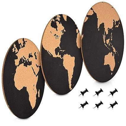 Navaris Set de tableros de corcho - Pizarras redondas con diversos diseños de mapas del mundo - 3x Pizarra mapamundi de corcho - Con chinchetas