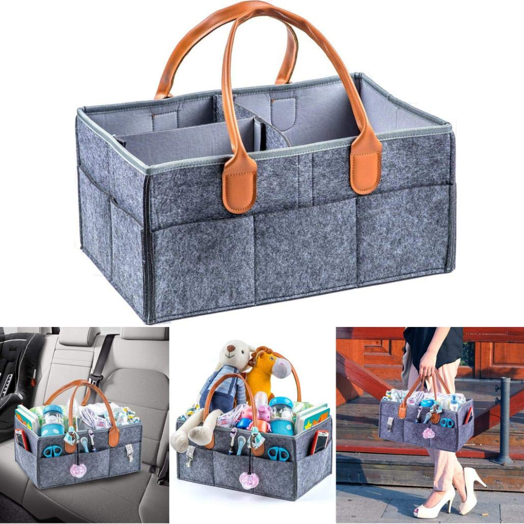 TAOtTAO Nursery Diaper Tote Bag Large Portable Car Travel Organizer Basket