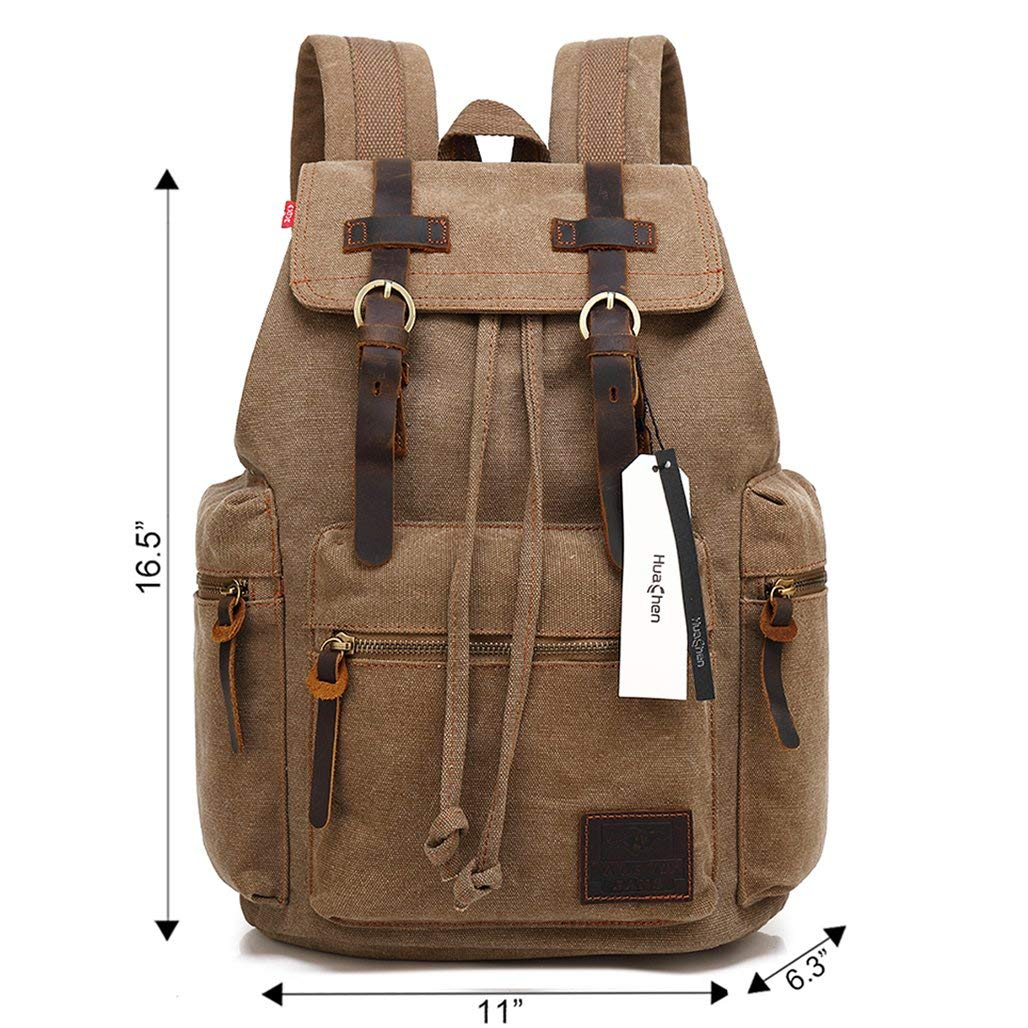 c86eaff12a6 Amazon.com  Vintage Travel Canvas Leather Backpack,Laptop Backpacks ...