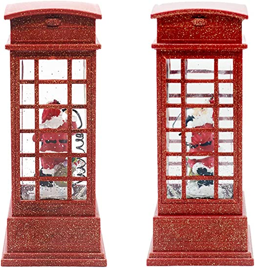 1Pc Christmas Telephone Booth Night Light Creative Night Lamp Adornment