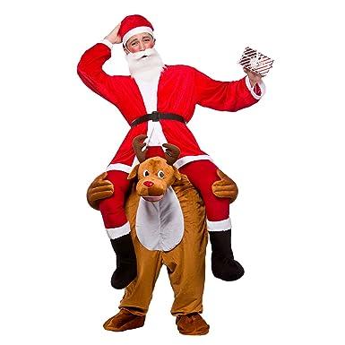 Disfraz de hombre de Papá Noel montado sobre reno, para ...