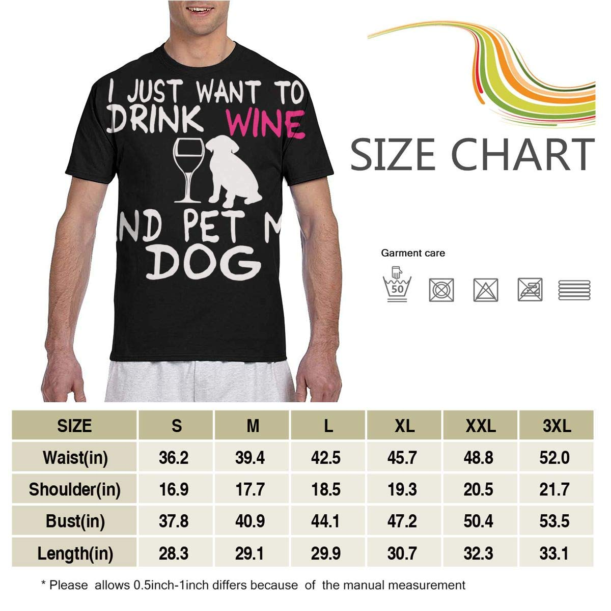 I Just Want to Drink Wine and Pet My Dog Mens Short Sleeve T-Shirt Print Tees Tops