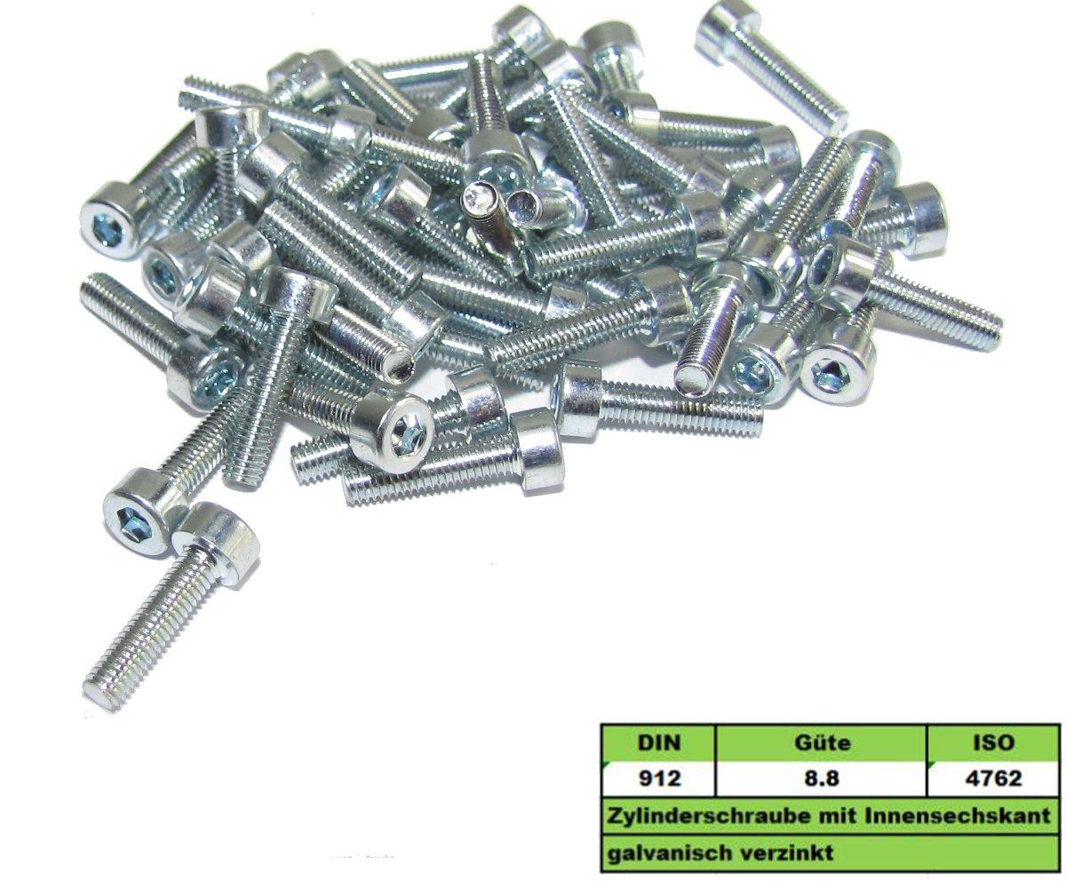 Stahl 8.8 verzinkt 50 Stk Flachrundschraube DIN 603 M8 x 30