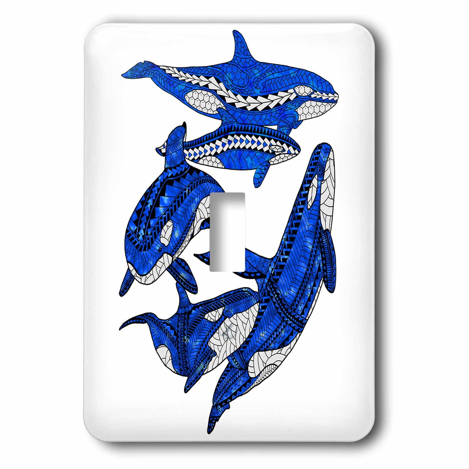 3dRose MacDonald Creative Studios – Marine Animals - A pod of tribal orca killer whales - Light Switch Covers - single toggle switch (lsp_281507_1)