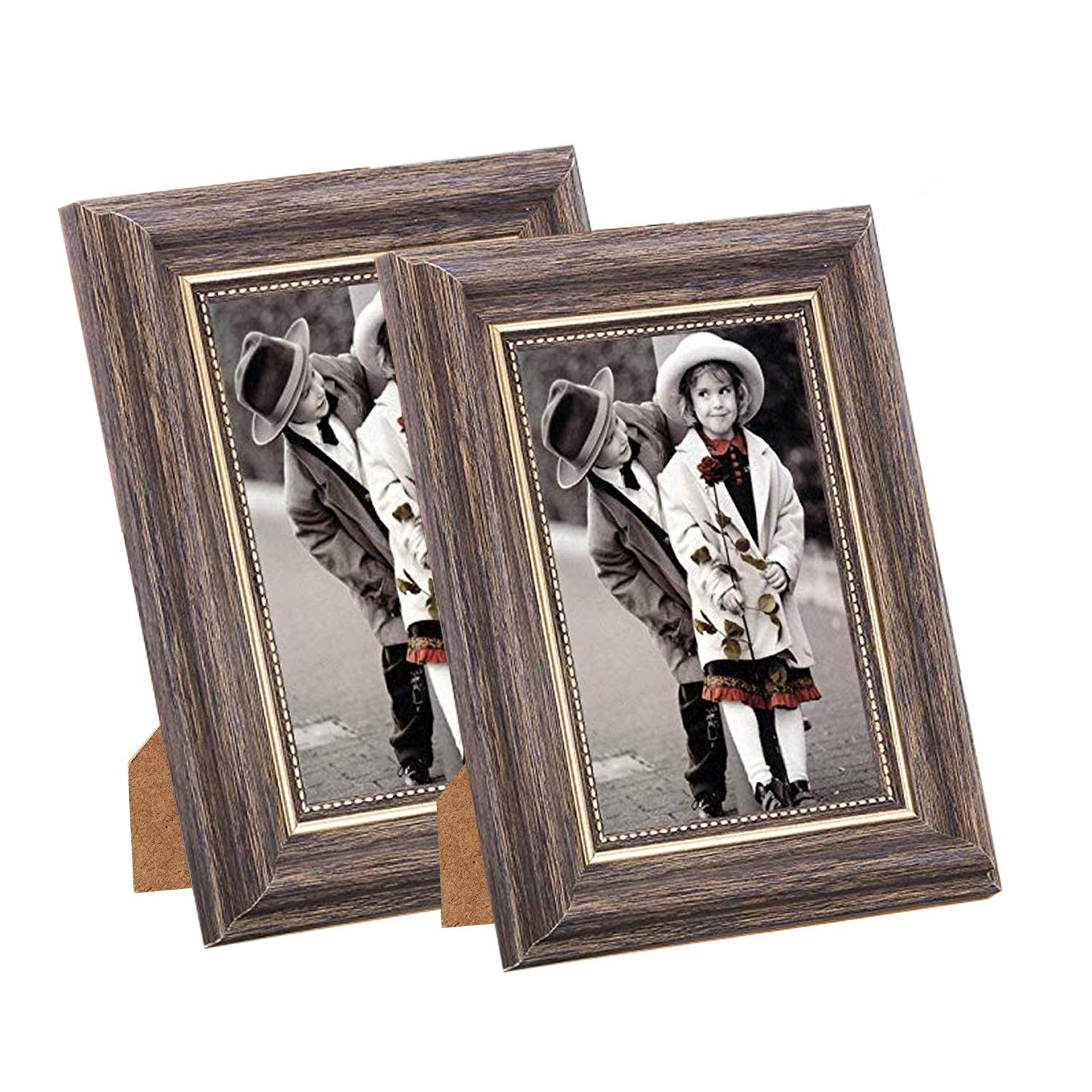 Msicyness Photo Frame 8x10 Vintage Portrait Picture Frames Retro Landscape & Horizontal Poster Frame Standing or Wall Mountable, Birthday Gift for Parents Woman Wedding Anniversary 10x8 Inch Coffee