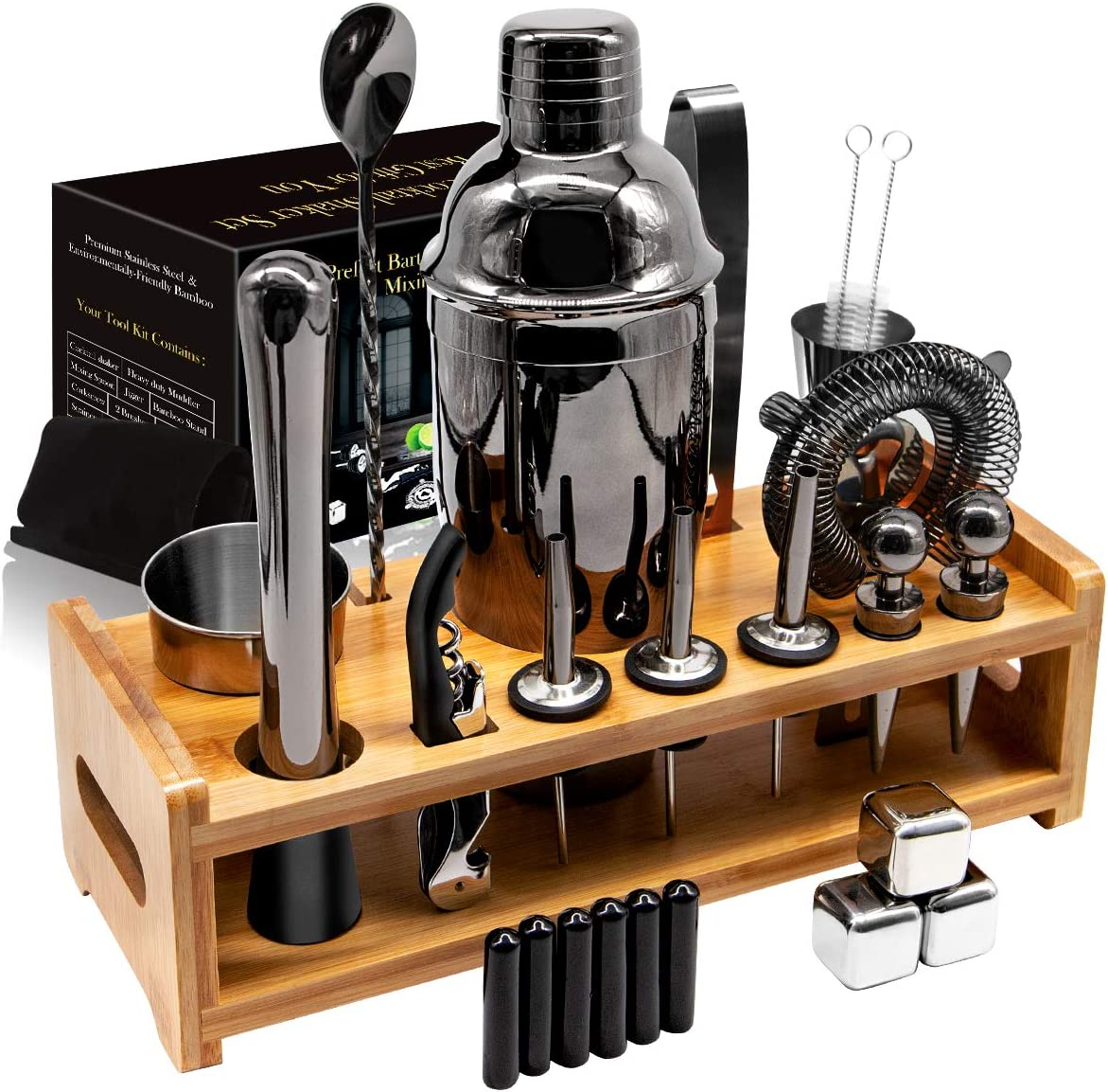26Pcs Stainless Steel Cocktail Bar Tool Set,Perfect Bar Accessories for Home Bar Set and Martini Mixer Kit with Bamboo Stand for Making Awesome Drink Mixing Experience Ideal Gift Set (Black)