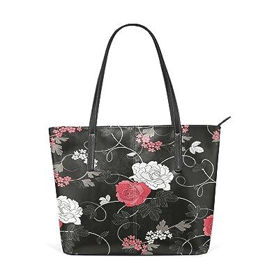 Womens Leather Top Handle Shoulder Handbag Flowers Large Work Tote Bag
