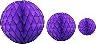 product image for Purple Honeycomb Balls, Set of 3 (12 inch, 8 inch, 5 inch)