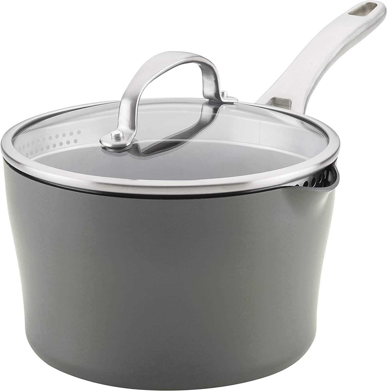Anolon 81170 Allure Hard Anodized Nonstick Sauce Pan/Saucepan with Straining and Lid, 3.5 Quart, Gray