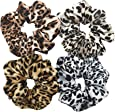 Otyou 4 Pack Bright Leopard Print Hair Scrunchies Soft Fabric Scrunchy Bobbles Elastic Hair Bands Ties Hair Accessories Wrist Band Cosplay Show for Women Girls Pony Tails and Buns