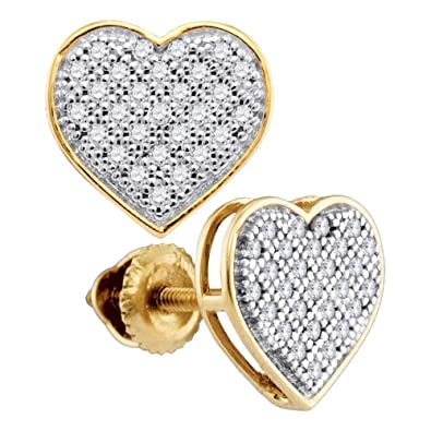 70bcedb15 Image Unavailable. Image not available for. Color: Diamond Heart Stud  Earrings 10k Yellow Gold Love Studs Round Pave Set Cluster Style Fancy 1