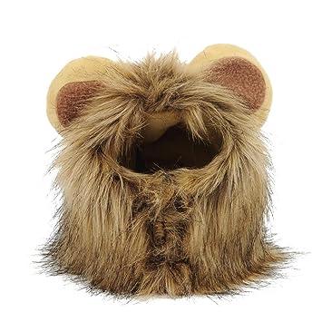 Yunt Mascotas Lion Disfraz con Orejas Crin Peluca para Pequeños Perros Gatos Halloween Dress Up