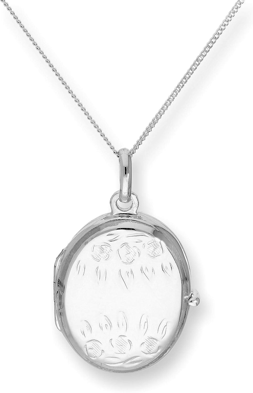 JewelleryBox Collier et Pendentif M/édaillon Ovale /à Fleurs en Argent 925//1000-41 /à 56 cm