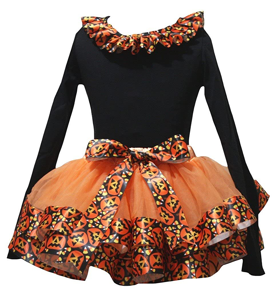 Petitebella Plain Black L//S Shirt Orange Pumpkin Petal Skirt Nb-8y