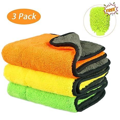Tencoz 840GSM Microfibra paños Limpieza toallitas Coche, 3 Pack de Limpieza de Coches paño +