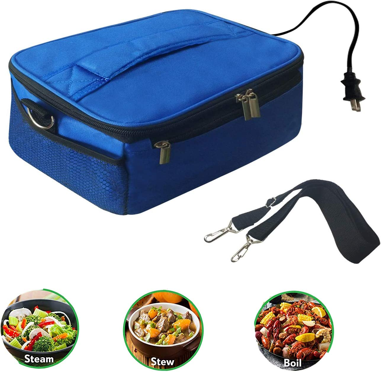Portable Oven Personal Food Warmer for Prepared Meals Lunch Warmer Reheating at work For Office Working, Truckers,Outdoors Travel, Camping 110V blue