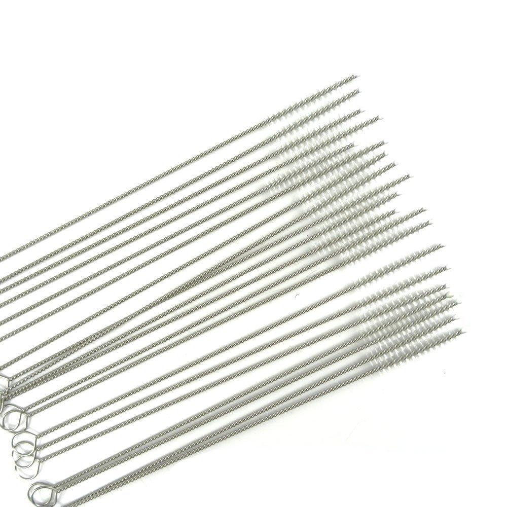 "Honbay Straw Cleaner Brushes, nylon bristles stainless steel handle, Nylon Skinny Pipe Tube Cleaner - 20 Piece Value Pack - 6 mm bristles x 7"" 175mm long"