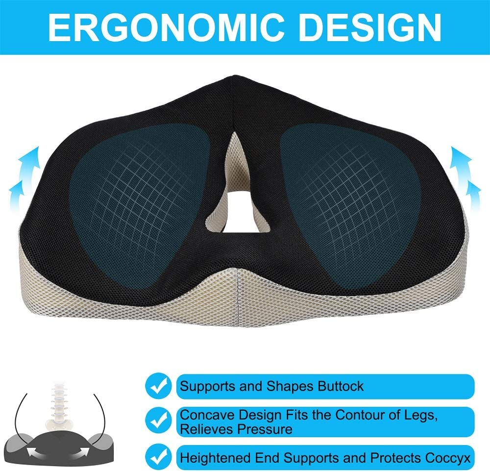 Computer Chair and Wheelchair SMRONAR Memory Foam Seat Cushion Seat Cushion for Office Chair Sciatica Pain Orthopedic Design for Coccyx and Tailbone Pain